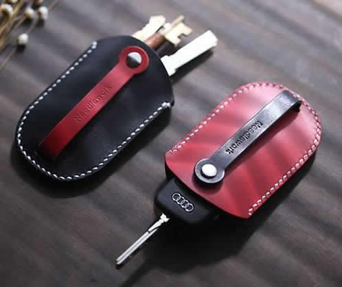 Handmade Genuine Leather Car Key Case Cover Holder