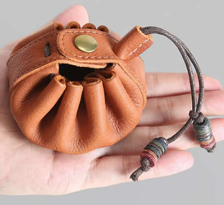 Handmade  Genuine Leather  Draw String Pouch Coin Purse Storage Bag Box