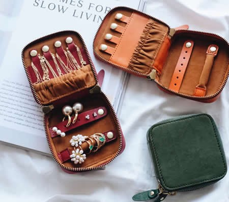Handmade Genuine Leather Travel Jewelry Organizer Bag Storage Case for Necklace, Earrings, Rings, Bracelet