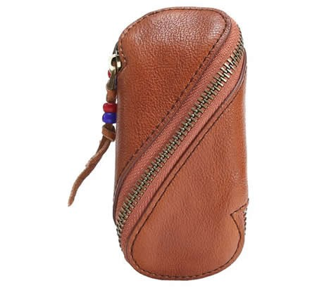 Handmade Leather Car Key Fob Keyless Entry Keychain Keybag Keycase Purse Wallet Zipper Organizer