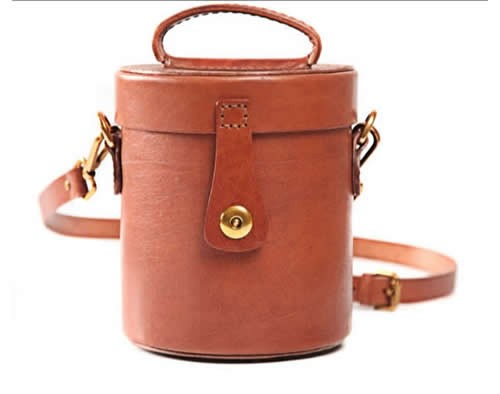 Handmade Leather Cylinder Shaped Coin Purse Shoulder Bag