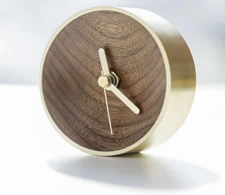 Handmade Natural Wood & Brass Desk Clock