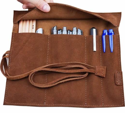 Vintage Style Leather Pencil Pen Case