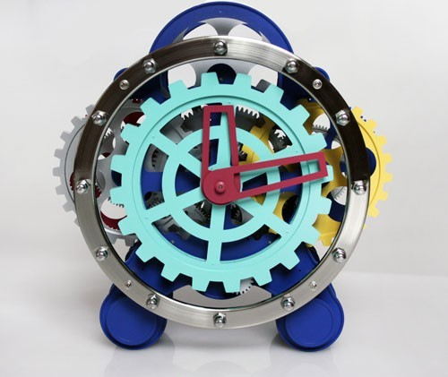 Multicolour  Maple's Moving Tabletop Gear Clock