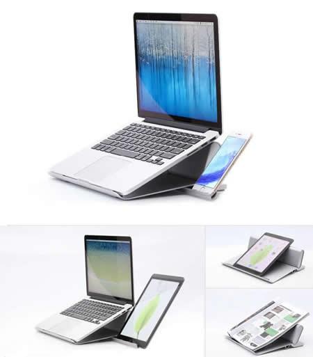 "Laptop Stand 2 in 1 Aluminum Alloy Adjustable Desktop Space-Saving Holder Notebook Cooling Bracket,Fits 17"" and smaller laptops"