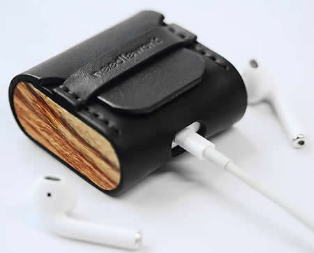 Leather&Wooden Protective Cover for Apple AirPods Charging Case