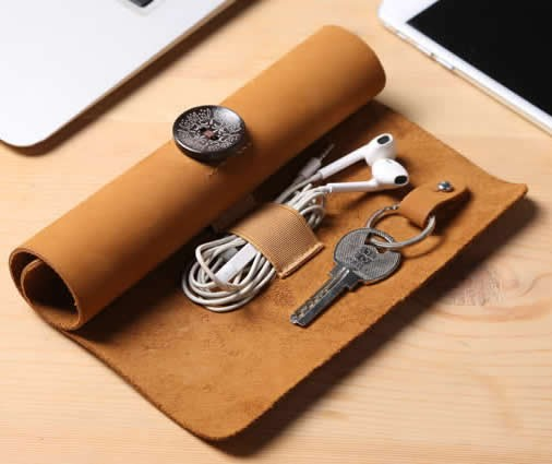Leather Roll Up Style Cable Travel Organizer For Cable