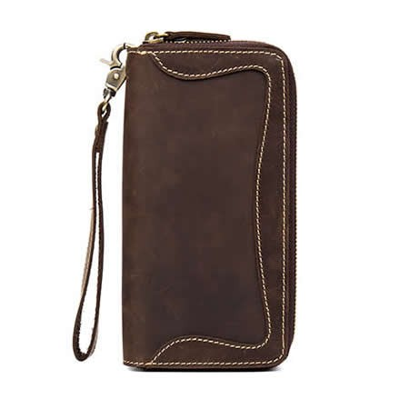 Mens Genuine Leather Cowhide Checkbook Organizer Double Zipper Long Wallet