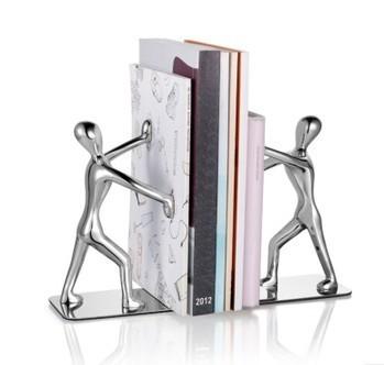 1 Pair-Metal Men Pushing Books Decorative Bookends