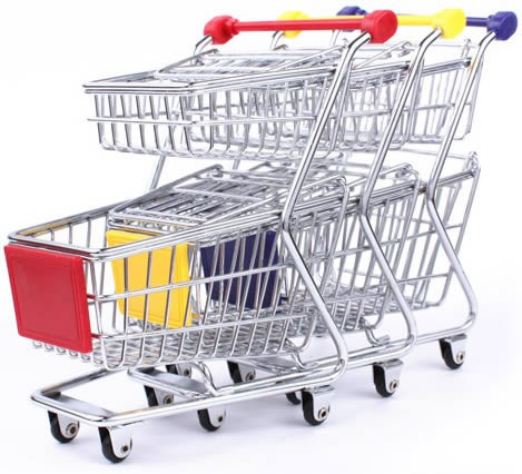 Mini Shopping Cart Desk Storage Basket
