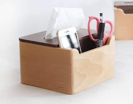 Multi Function Wooden Tissue Cover Desk Organizer For Pen