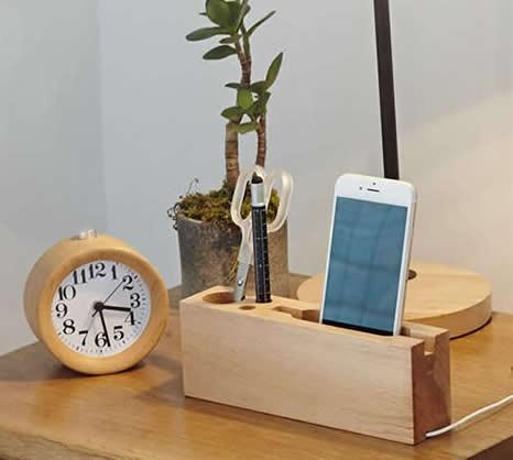 Multipurpose Wooden Pen Pencil Holder Phone Charging
