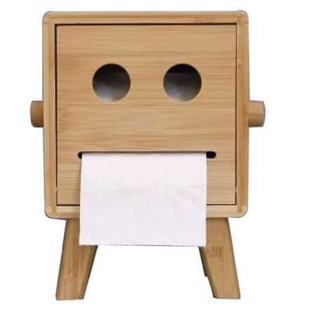 Natural Bamboo Wooden Smiley Face Tissue Box