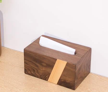 Pastoral Black Walnut Beech Wood Color Matching Wooden Tissue Box