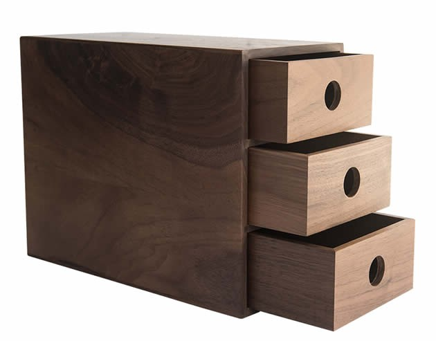 Pastoral Black Walnut Wood Office Desk Organizer with Drawers