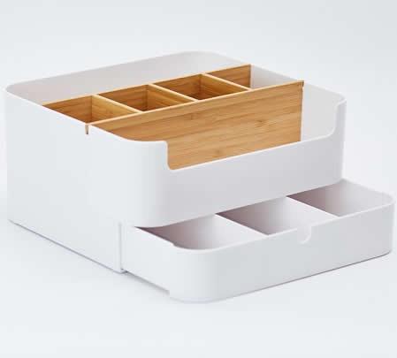 Plastic & Bamboo  Office Wooden Desk Organizer  Desktop Makeup Organizer