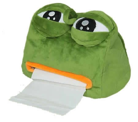 Plush Crying Frog Tissue Box Holder