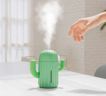 Portable Rechargeable USB Cactus-Shaped Mist Humidifier  LED Night Lights