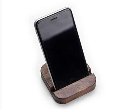 Customize Logo/Name Black Walnut Desktop Cell Phone Holder Stand Mount for iPhone  and Other Cell Phone