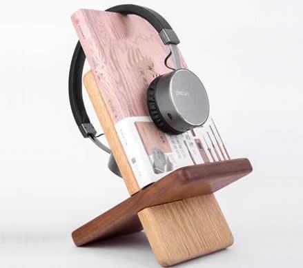 Portable Wooden Tablet Stand Mobile Phone Holder Headphone Hanger