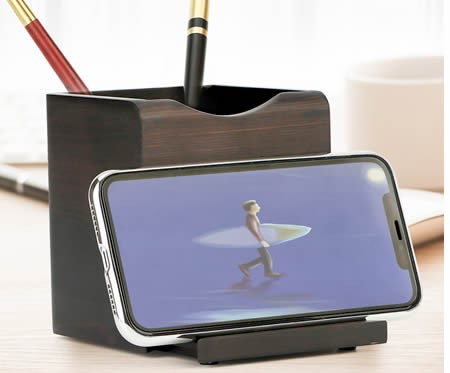 Retro Office Wooden Square Pen Holder With Phone Holder