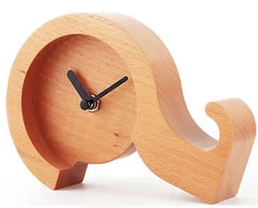 Question Mark Shaped Wooden Desk Clock Mobile Phone Display Stand Holder