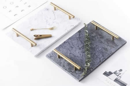 Rectangular Marble Tabletop Tray With Metal Handle
