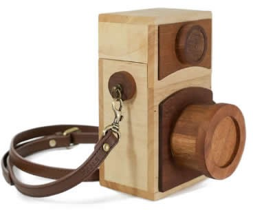 Retro Wooden Camera Small Crossbody Cell Phone Purse Wallet With Shoulder Strap