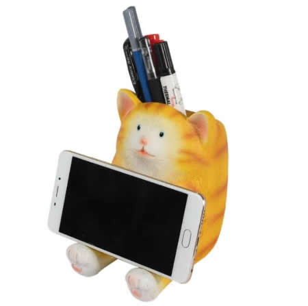 Resin Animal Mobile  Phone Stand Pen Pencil Holder Piggy Bank