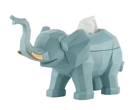 Resin Cute Elephant Tissue Box Holder Cover Figurine Statue Home Decor
