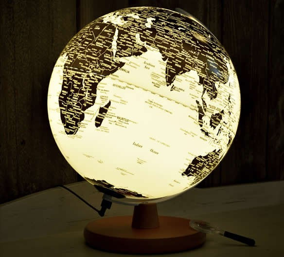 Rotating  LED  World Globe Map Table Lamp with Wood Base, 30cm Diameter