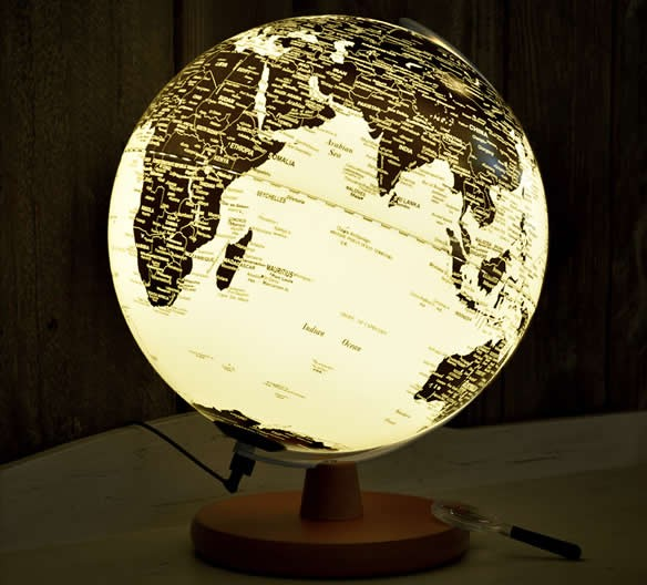 Rotating  LED  World Globe Map Table Lamp with Wood Base, 20cm Diameter