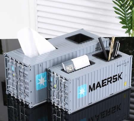 Creative Shipping Container Model Desk Office Supplies Organizer,Tissue Box(Silver)