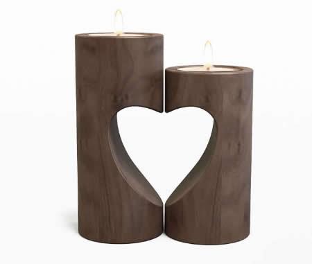 Tea Light Black Walnut Wooden Candle Holder Set