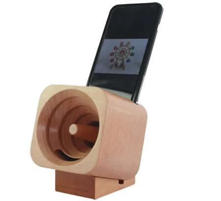 Wooden Turbo Prop Engine Speaker Sound Amplifier Stand Dock for SmartPhone