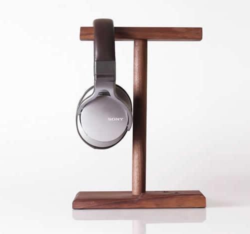 Universal Black Walnut Wooden Dual Headphone Stand Hanger Holder