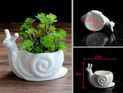 2 Pack White Ceramic  Snail Succulent Planter/Plant Pot/Flower Pot