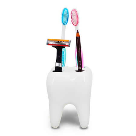 White Ceramic Tooth Shaped Toothbrush Holder Stand