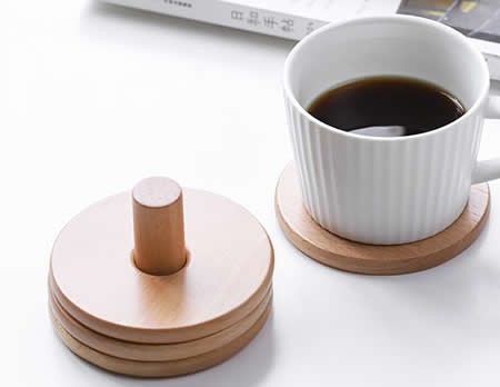 Wood Round Coaster Set of 6 with Holder