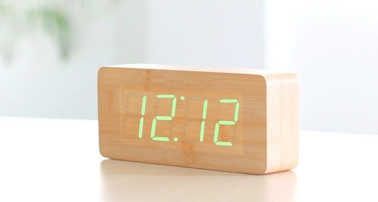 LED Wood Block Desk Alarm Clock