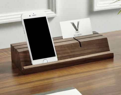 wooden business card holder mobile phone ipad holder stand - Business Card Stand
