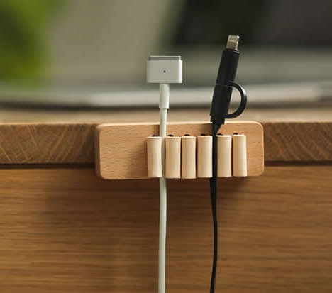 Wooden Cable Management System for Power Cords and Charging Accessory Cables