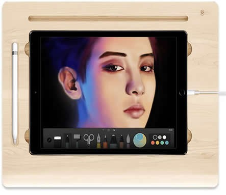 "Wooden Canvas Smart Board Drawing Desk with Stand For Apple iPad  pro 12.9""  9.7"""