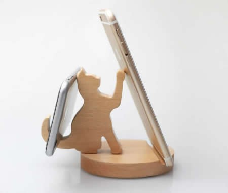 Wooden Cat & Dog Cell Phone iPad Stand Holder