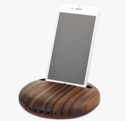 Wooden Cell Phone Sound Amplifier  Desk Stand Holder Docking Station