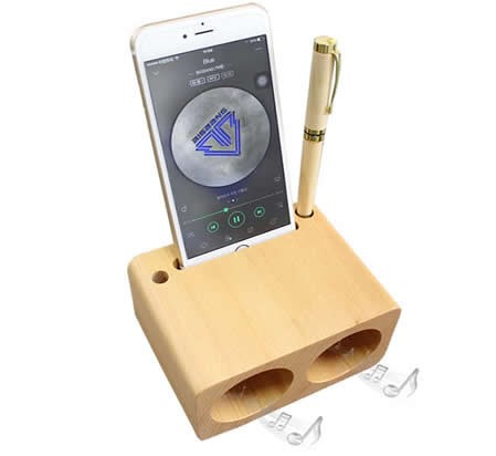 Wooden Phone Holder Cell Phone Sound Amplifier Stand Holder With Pen Stand