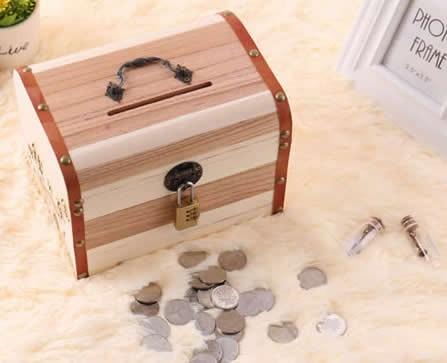 Wooden Coin Bank Money Saving Box