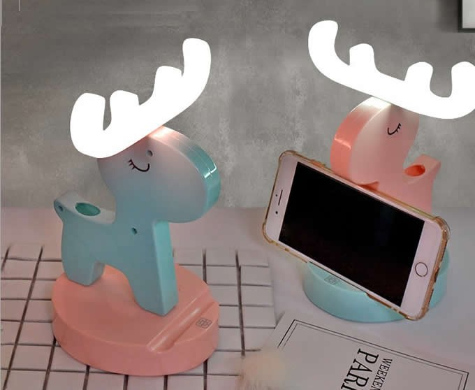 Wooden Deer Led Night Light Cell Phone Stand Holder  Eyeglass Holder / Spectacle Display Stand