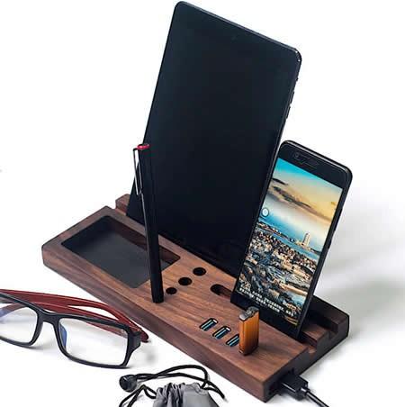 Wooden Desktop Organizer Computer Desk Accessories With 4 Port USB 3.0 Hub
