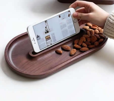 Wooden Dessert Tray Cookie Snack Nut Serving Dish  with Cellphone Holder